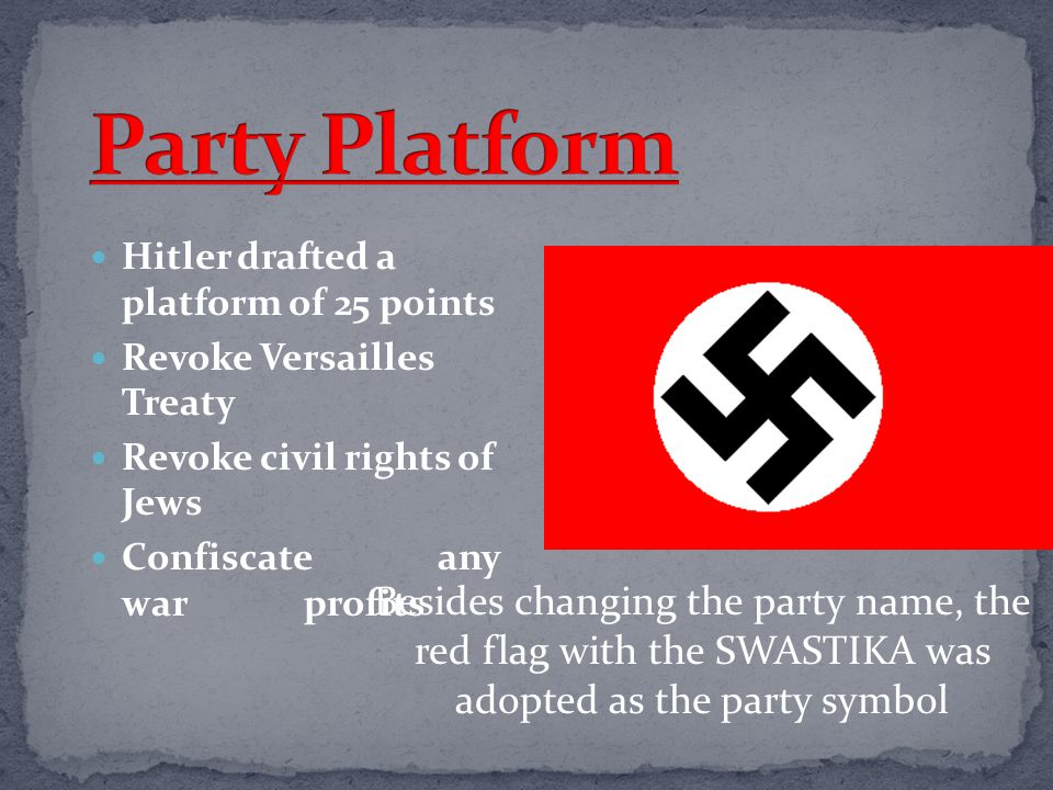 Party Platform Hitler drafted a platform of 25 points. Revoke Versailles Treaty. Revoke civil rights of Jews.
