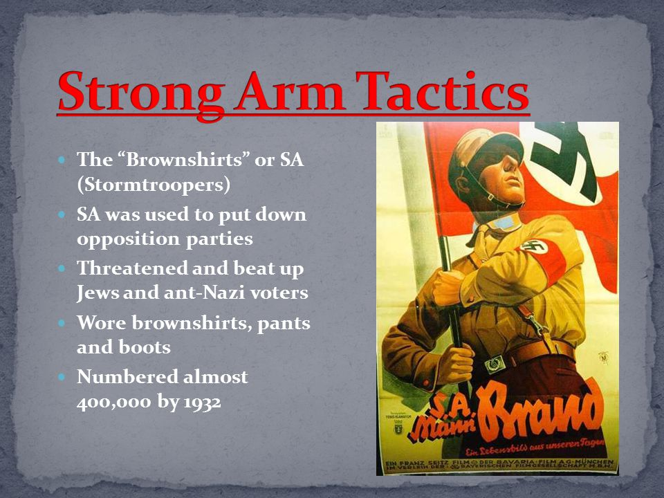 Strong Arm Tactics The Brownshirts or SA (Stormtroopers)