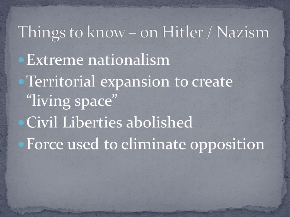 Things to know – on Hitler / Nazism