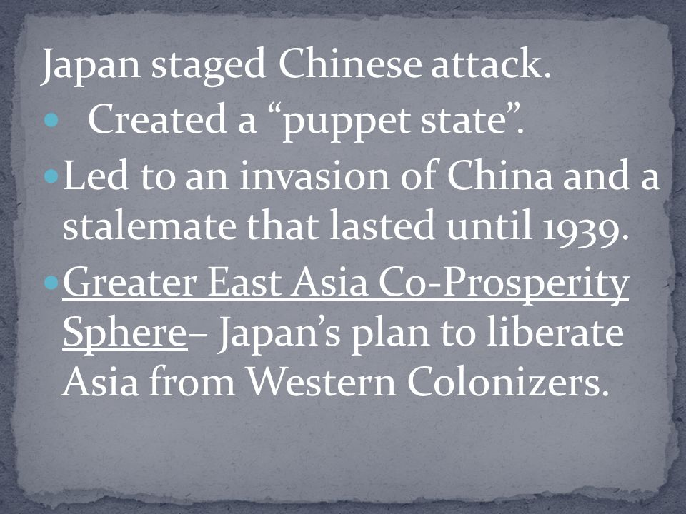 Japan staged Chinese attack.