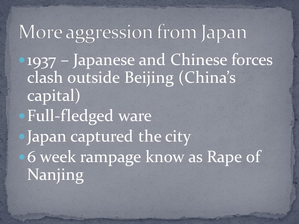 More aggression from Japan