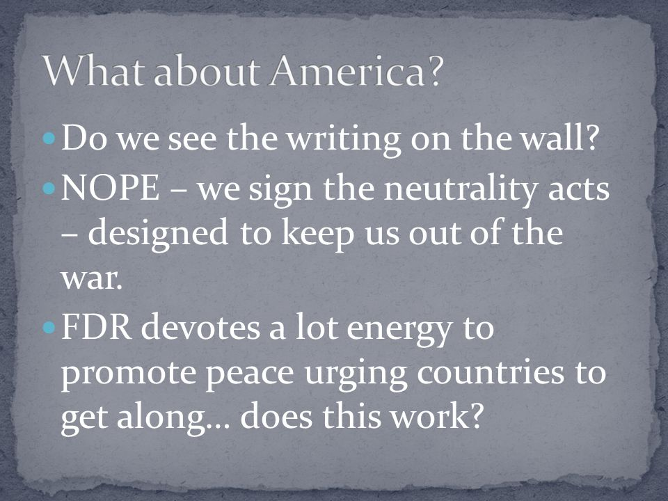 What about America Do we see the writing on the wall