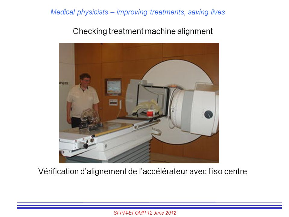Checking treatment machine alignment