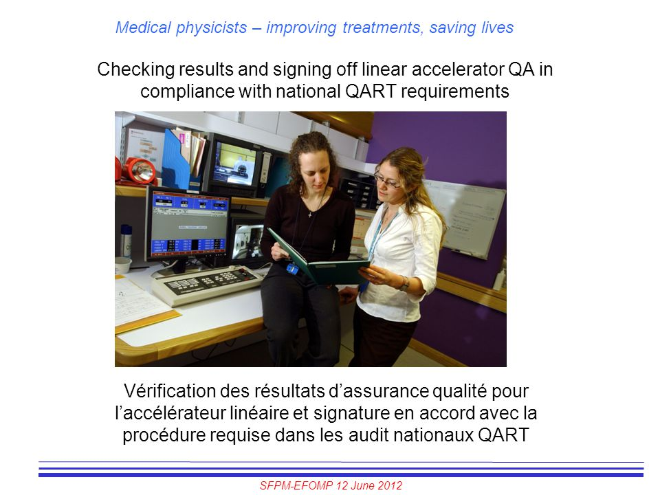 Checking results and signing off linear accelerator QA in compliance with national QART requirements