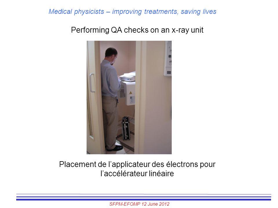 Performing QA checks on an x-ray unit