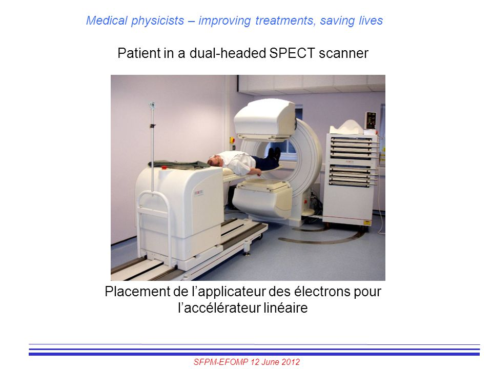 Patient in a dual-headed SPECT scanner