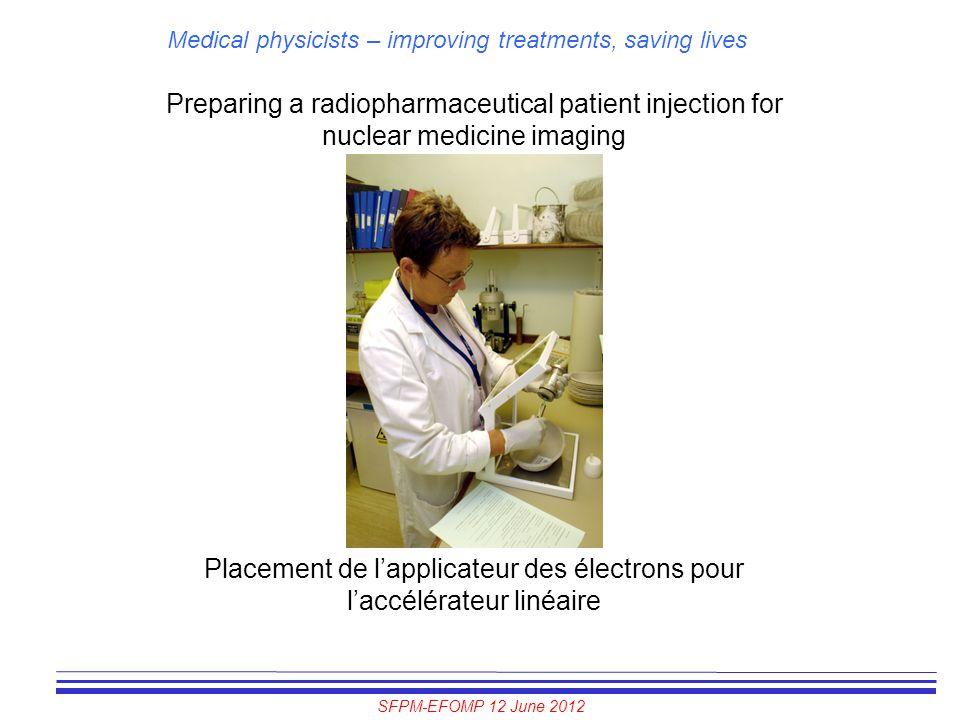 Placement de l'applicateur des électrons pour l'accélérateur linéaire