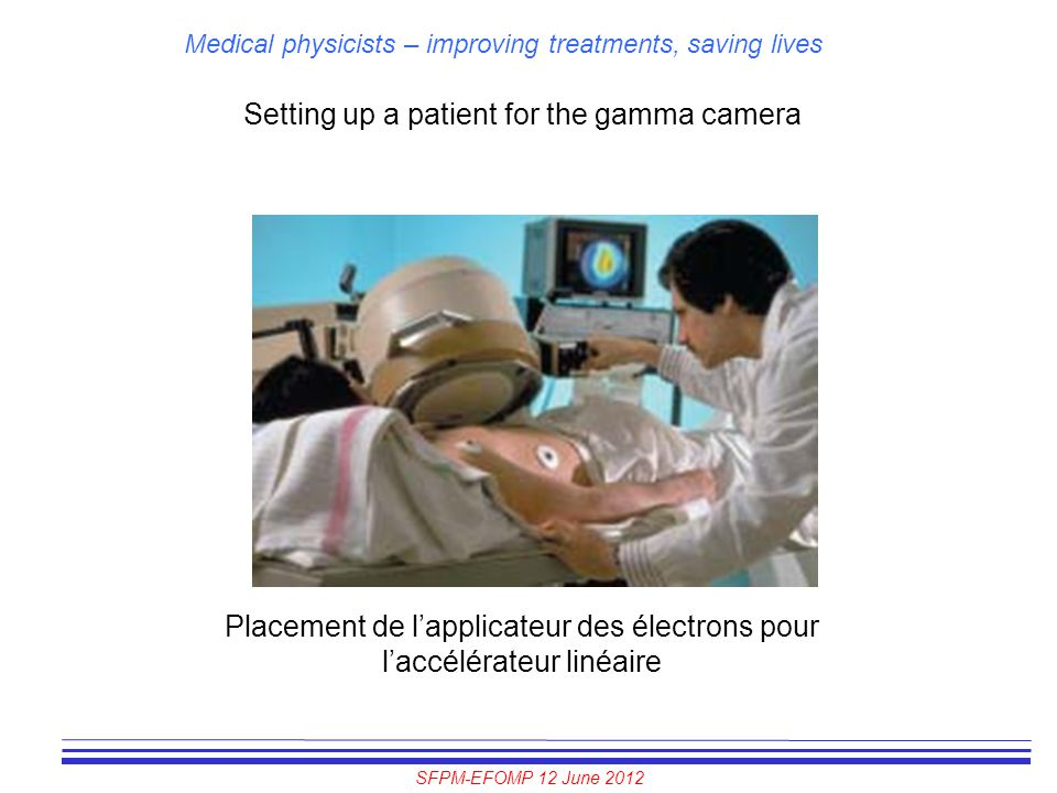 Setting up a patient for the gamma camera