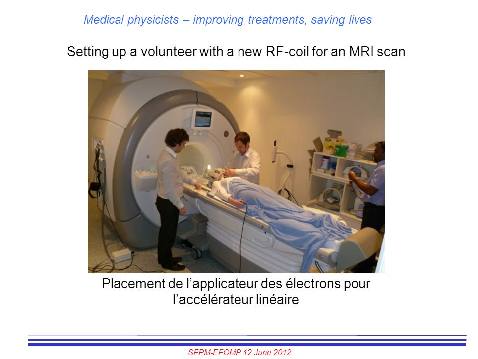 Setting up a volunteer with a new RF-coil for an MRI scan