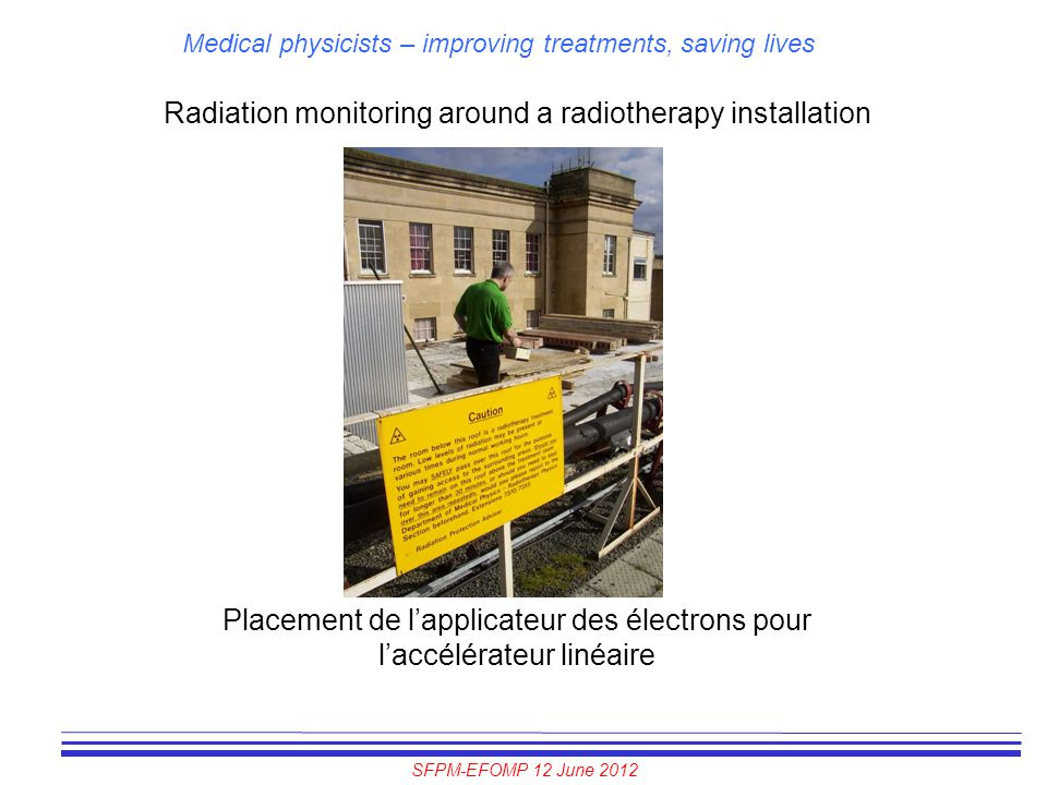 Radiation monitoring around a radiotherapy installation