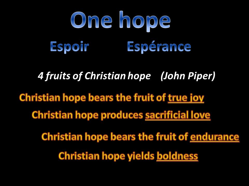4 fruits of Christian hope (John Piper)
