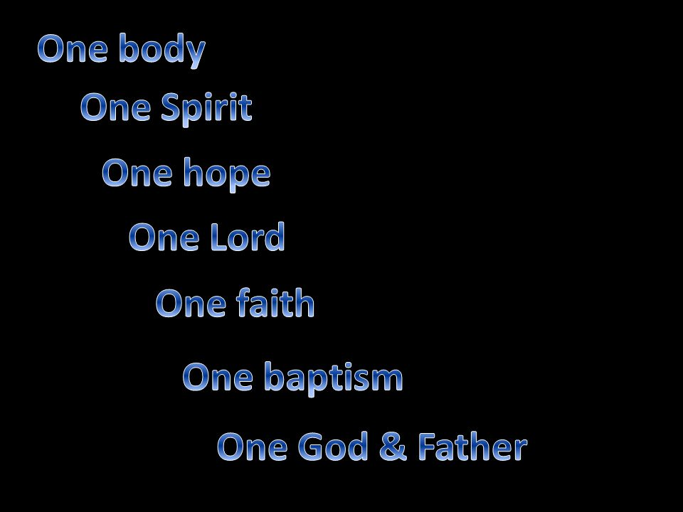 One body One Spirit One hope One Lord One faith One baptism One God & Father