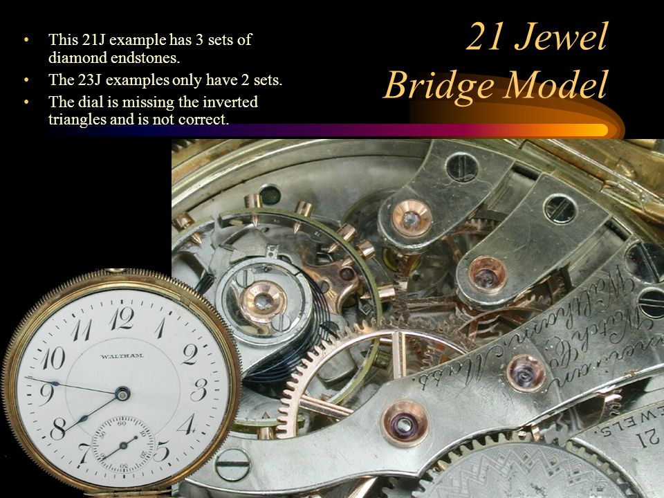 This 21J example has 3 sets of diamond endstones.