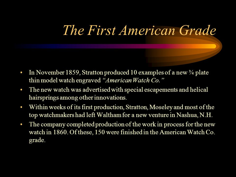 The First American Grade