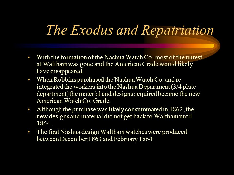 The Exodus and Repatriation