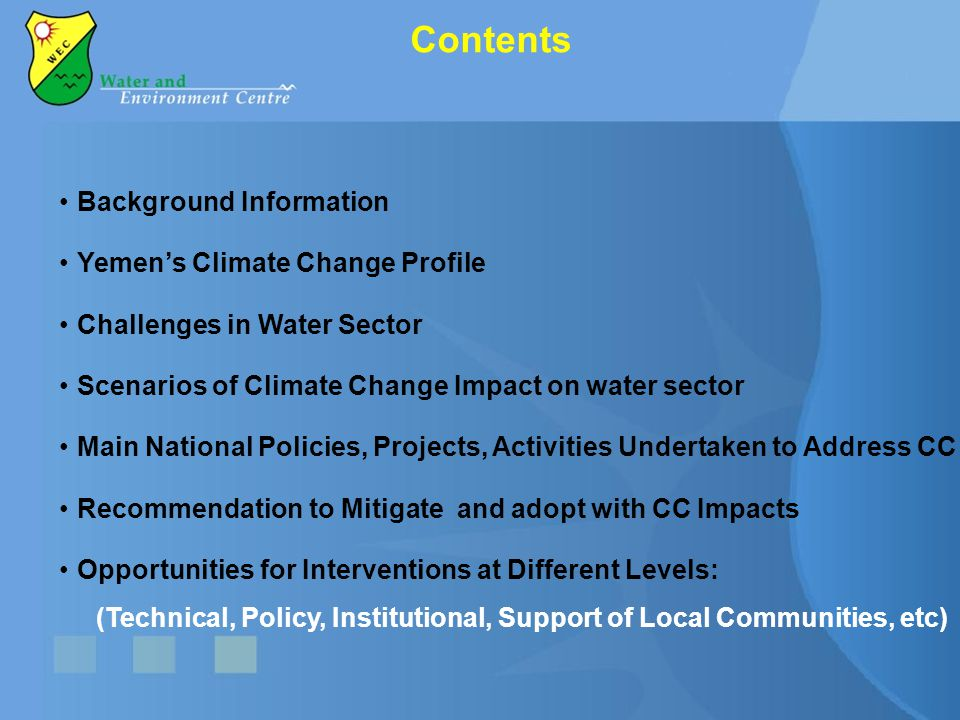 Contents Background Information Yemen's Climate Change Profile