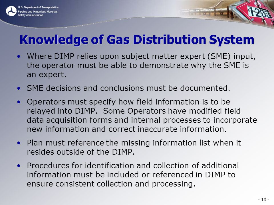 Knowledge of Gas Distribution System
