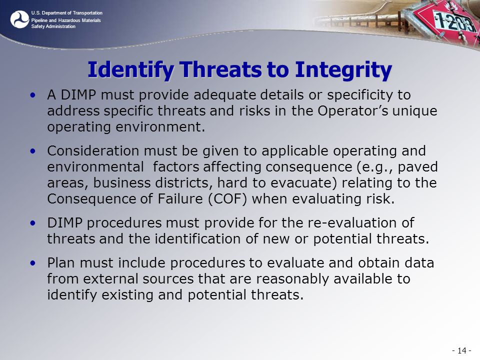 Identify Threats to Integrity