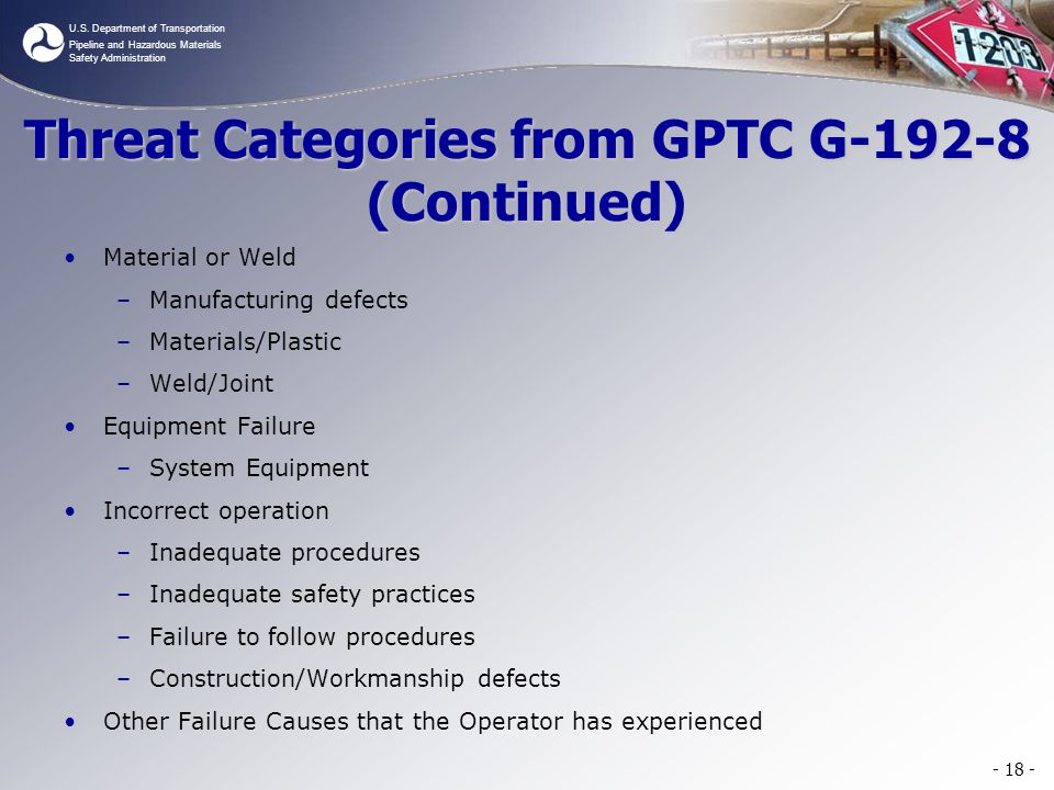 Threat Categories from GPTC G-192-8 (Continued)