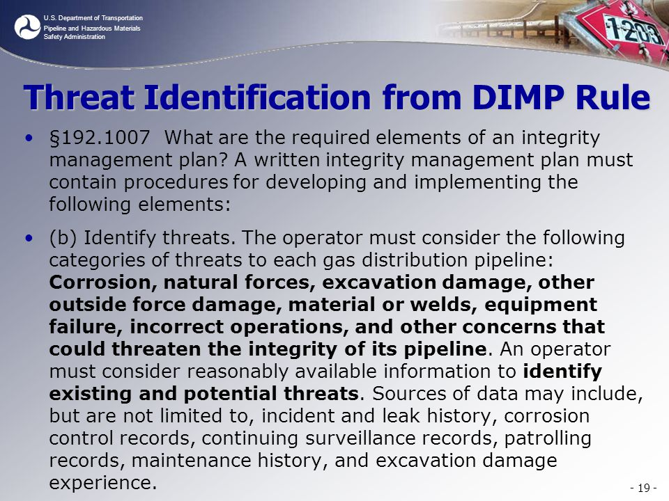 Threat Identification from DIMP Rule