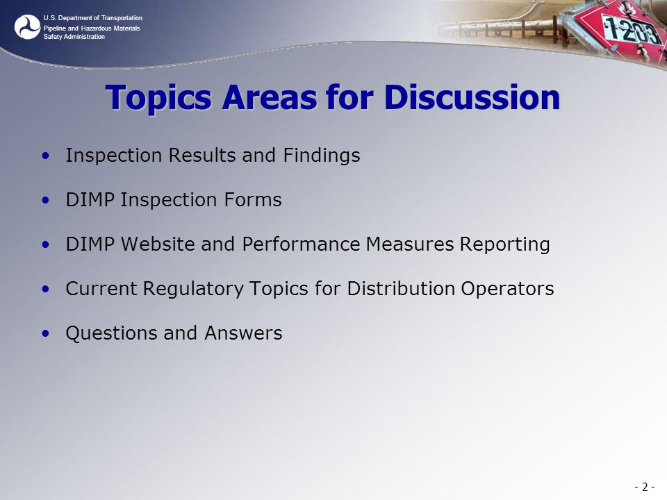 Topics Areas for Discussion