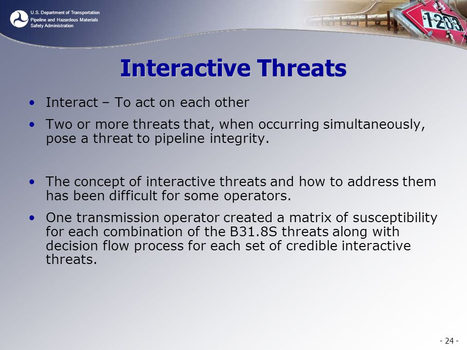 Interactive Threats Interact – To act on each other