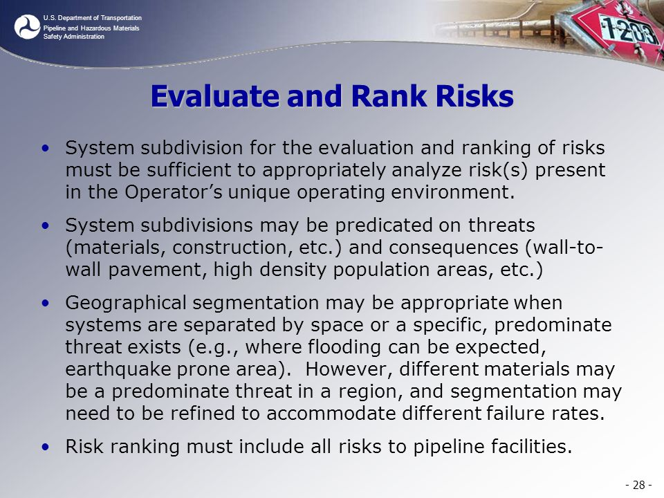 Evaluate and Rank Risks