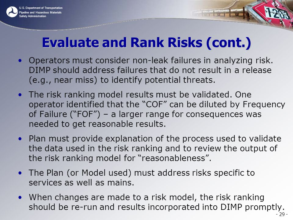 Evaluate and Rank Risks (cont.)