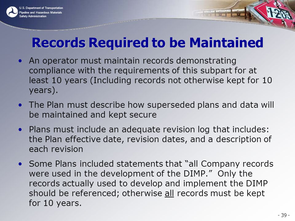 Records Required to be Maintained