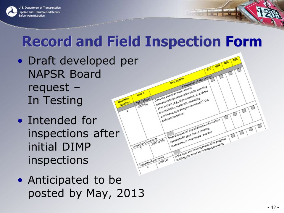 Record and Field Inspection Form