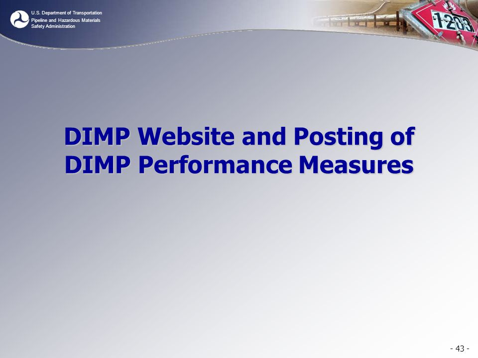 DIMP Website and Posting of DIMP Performance Measures