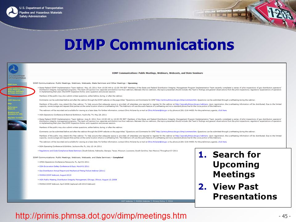 DIMP Communications Search for Upcoming Meetings