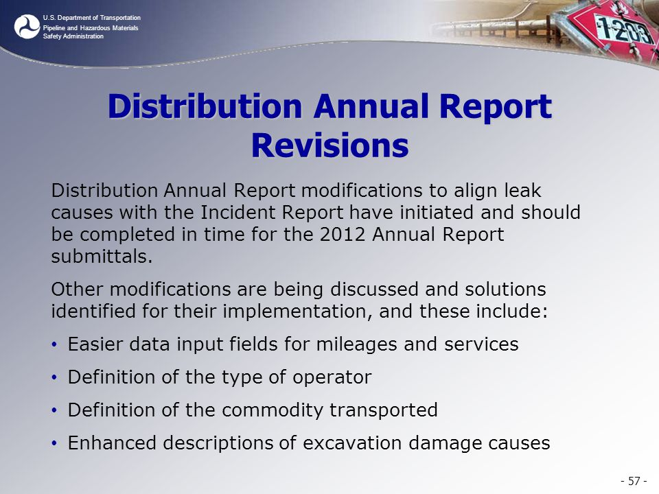 Distribution Annual Report Revisions