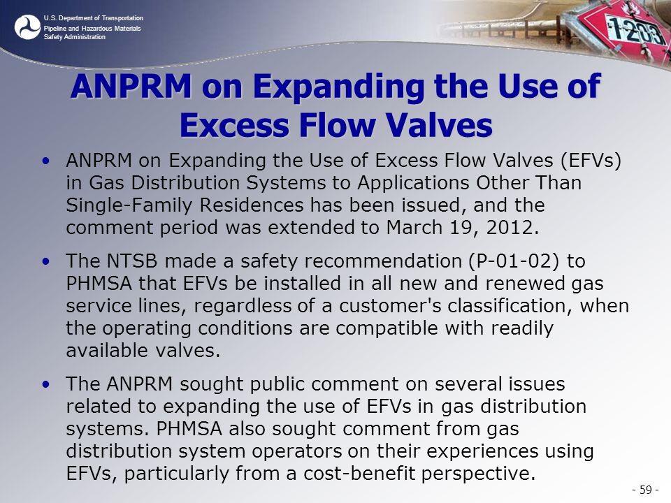 ANPRM on Expanding the Use of Excess Flow Valves