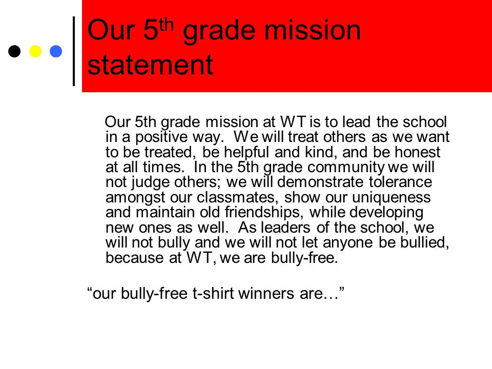 Our 5th grade mission statement