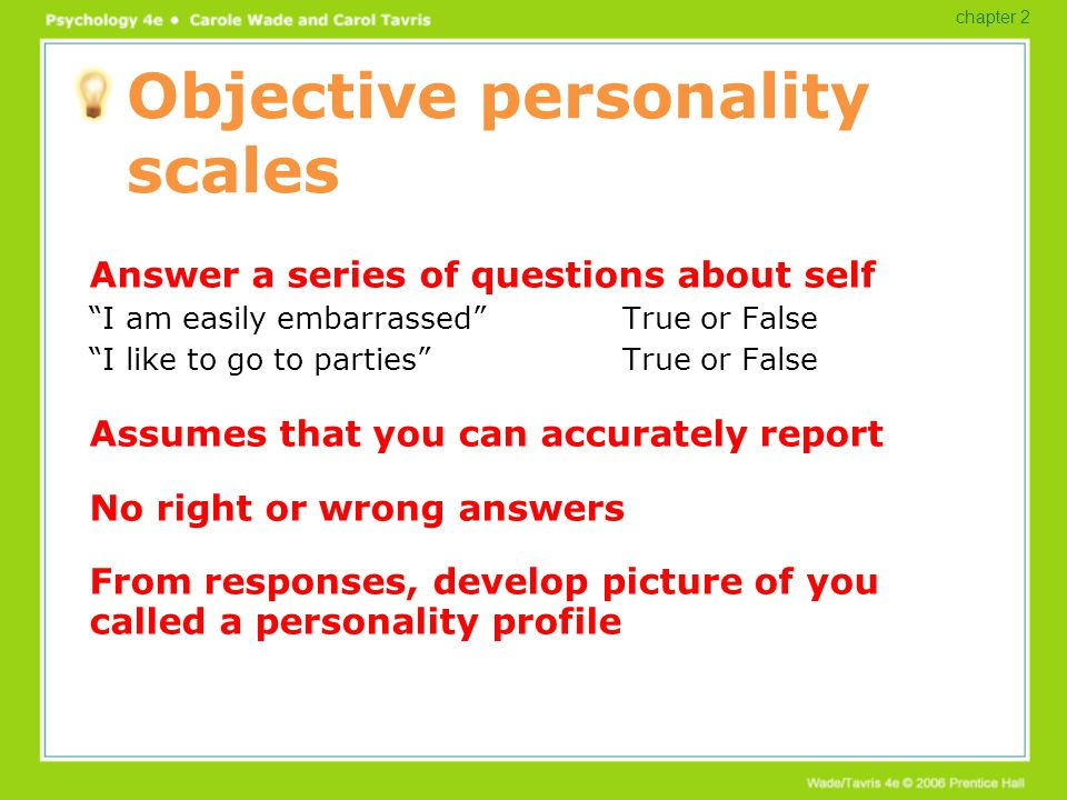 Objective personality scales