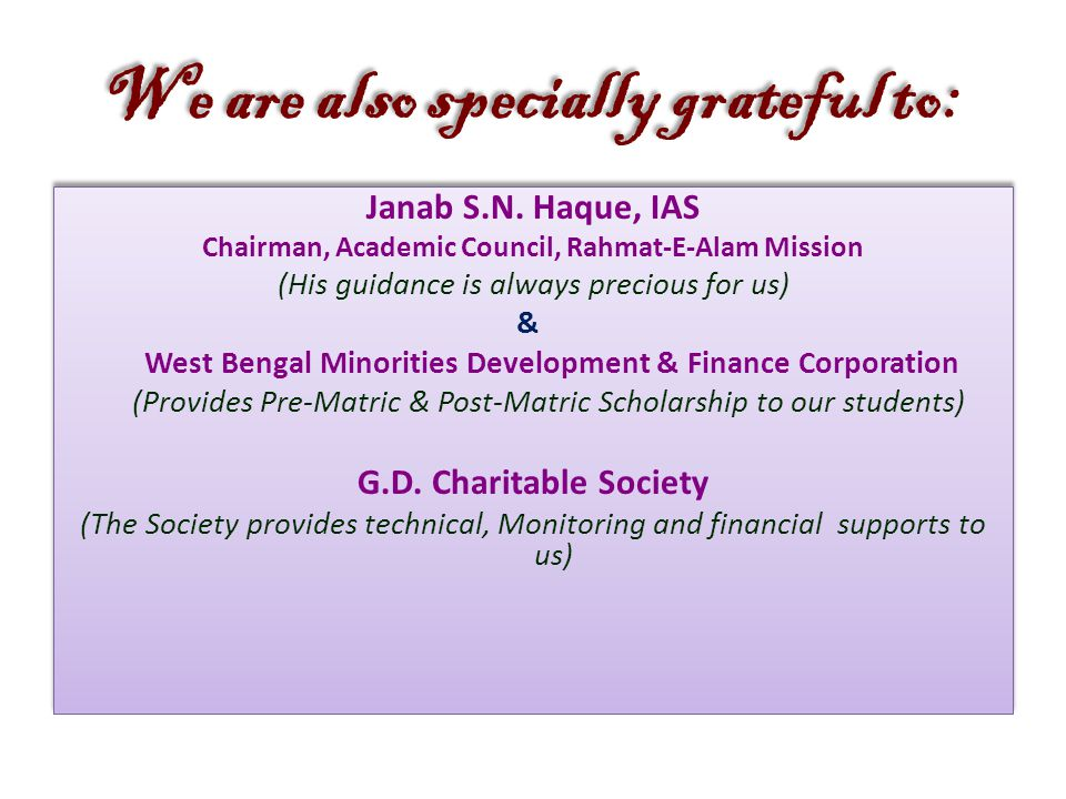 We are also specially grateful to: