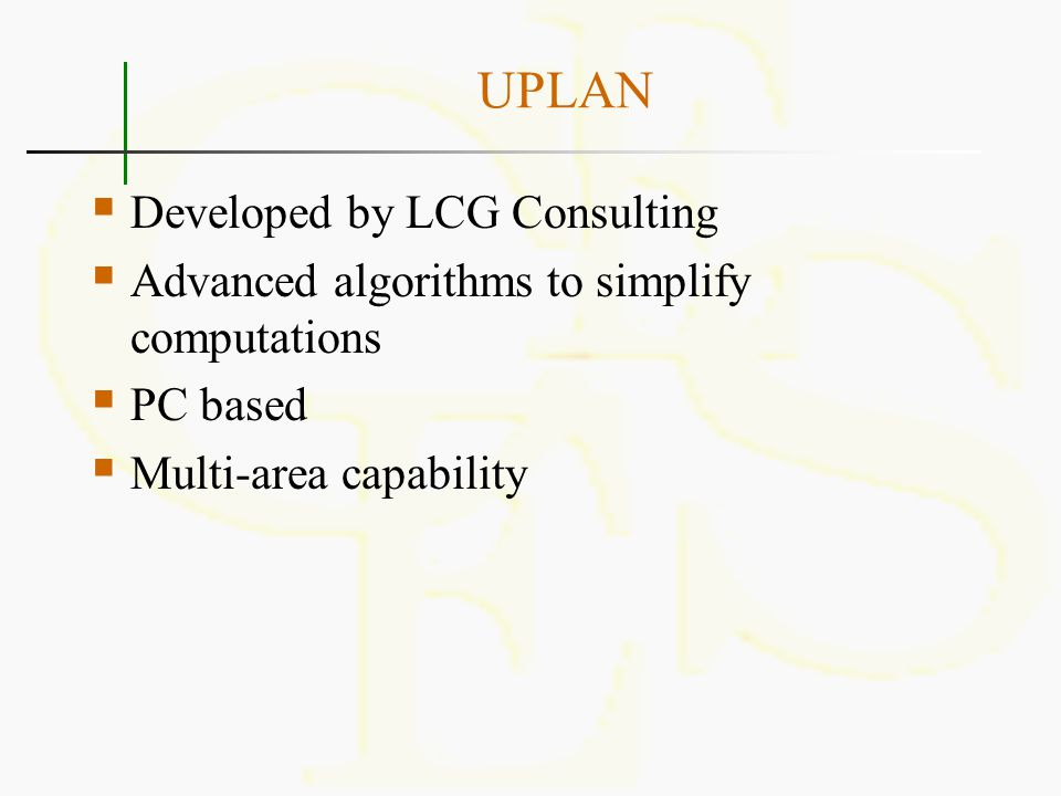 UPLAN Developed by LCG Consulting