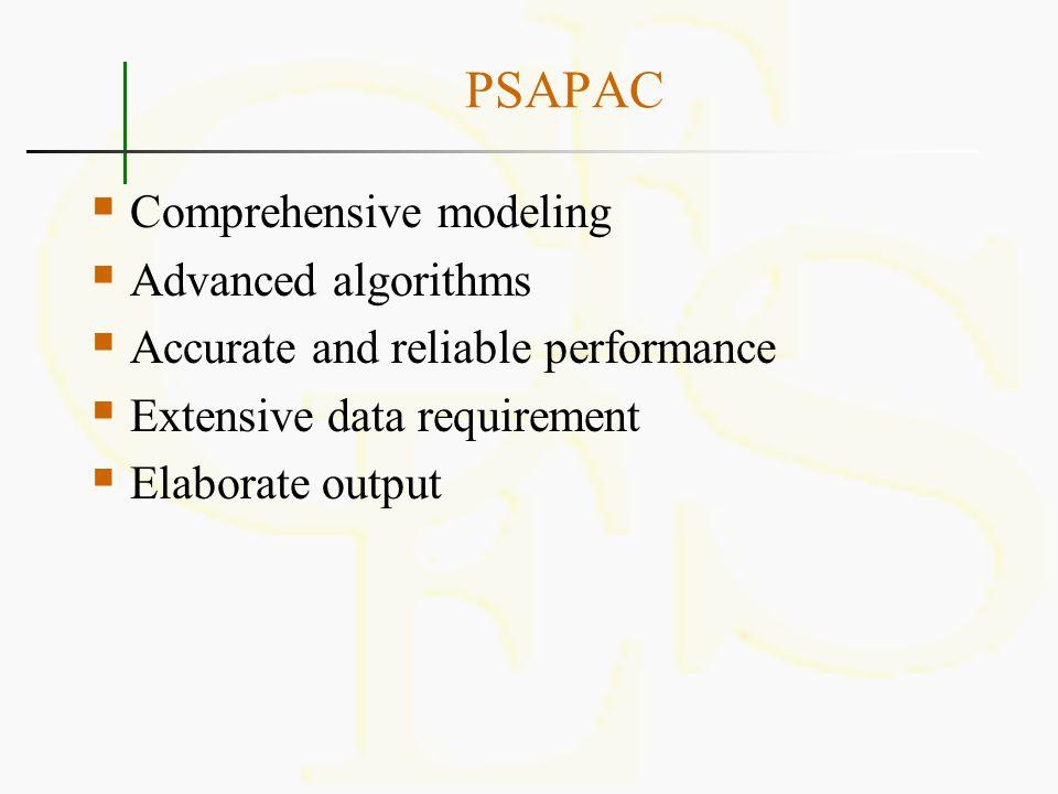 PSAPAC Comprehensive modeling Advanced algorithms
