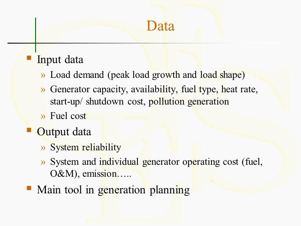 Data Input data Output data Main tool in generation planning