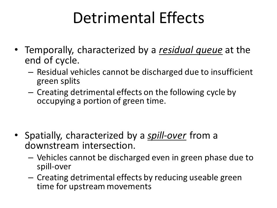 Detrimental Effects Temporally, characterized by a residual queue at the end of cycle.