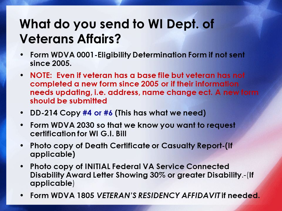 What do you send to WI Dept. of Veterans Affairs