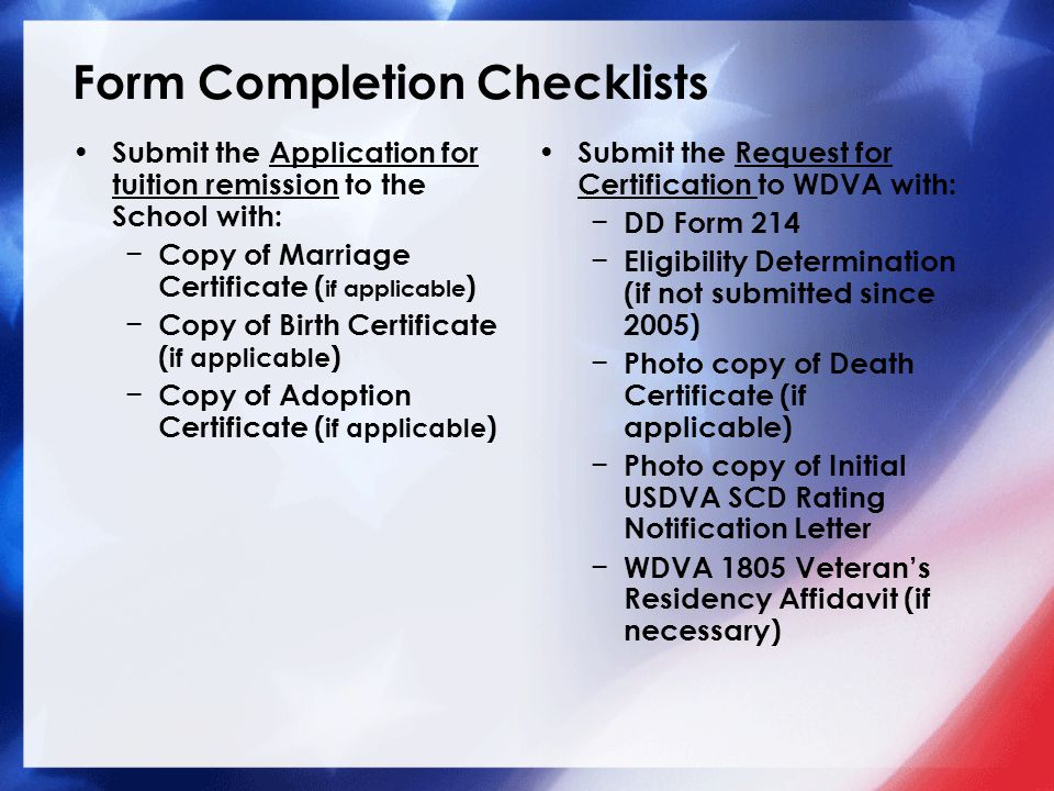 Form Completion Checklists