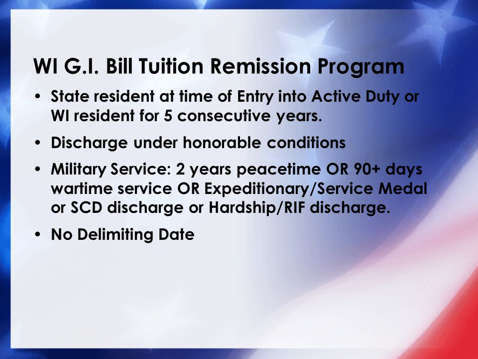 WI G.I. Bill Tuition Remission Program