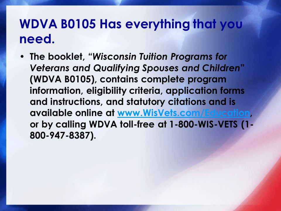 WDVA B0105 Has everything that you need.