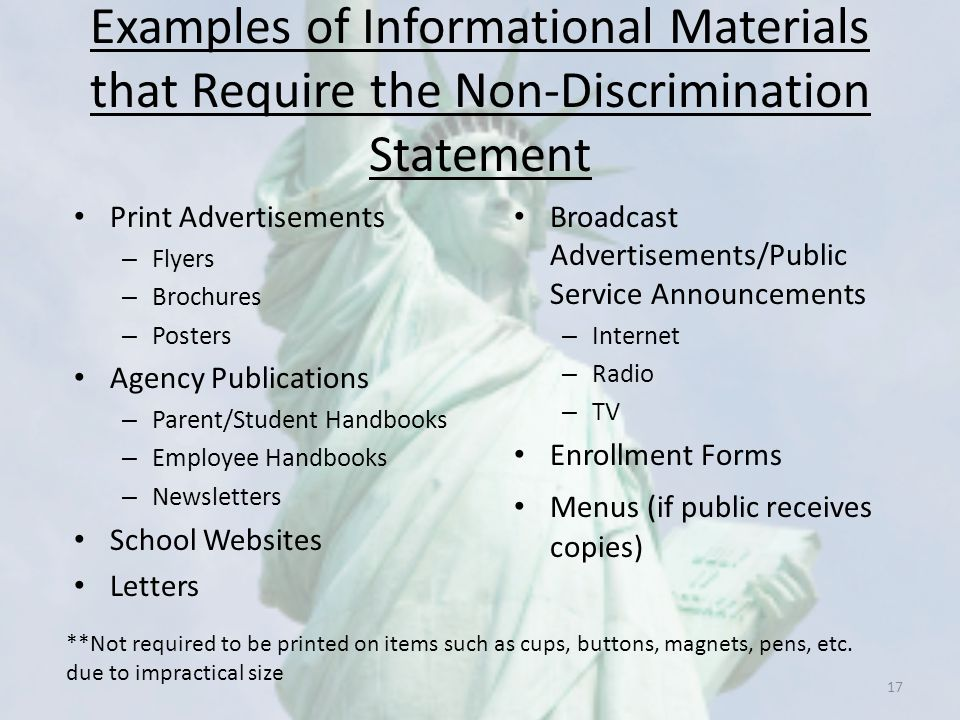 Examples of Informational Materials that Require the Non-Discrimination Statement