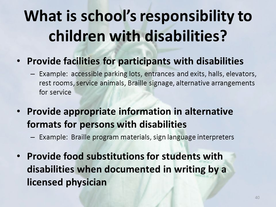 What is school's responsibility to children with disabilities