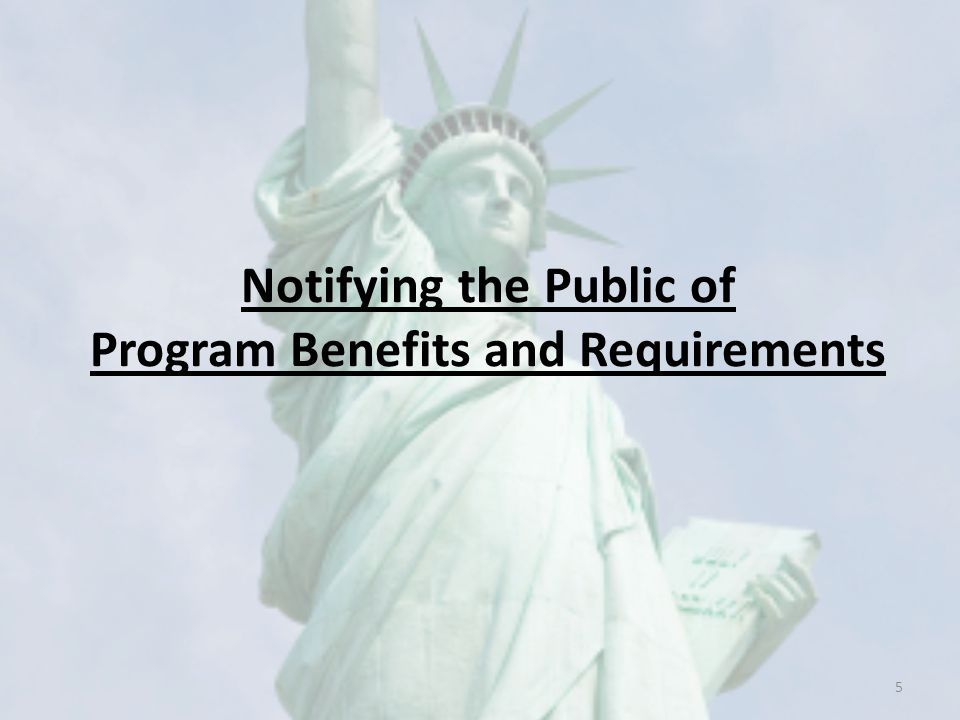 Notifying the Public of Program Benefits and Requirements