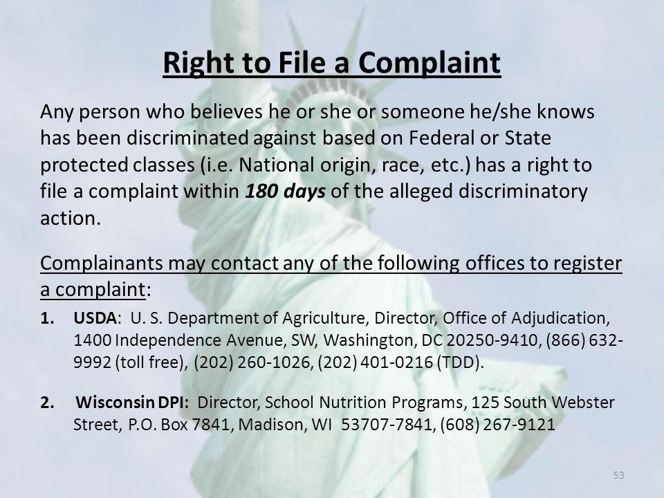 Right to File a Complaint