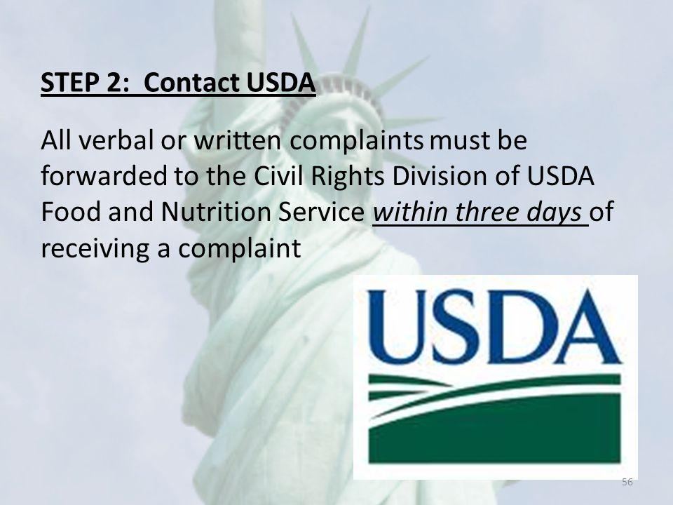 STEP 2: Contact USDA